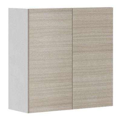 Ready to Assemble 30x30x12.5 in. Geneva Wall Cabinet in White Melamine and Door in Silver Pine