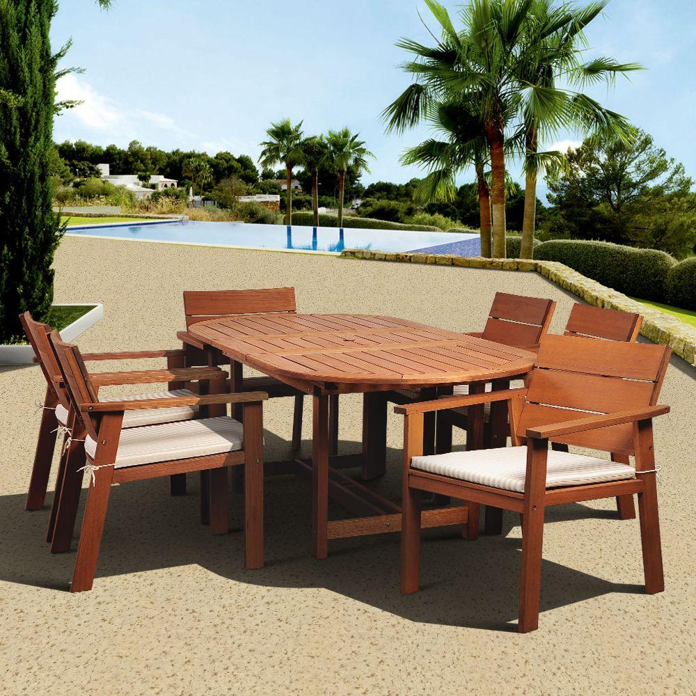 Amazonia Nelson 7-Piece Oval Extension Patio Dining Set with Striped ...