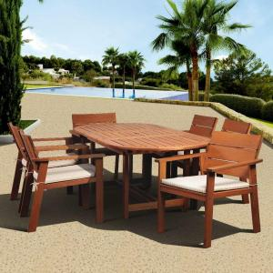 Amazonia Nelson 7-Piece Oval Extension Patio Dining Set with Striped Cushions by Amazonia
