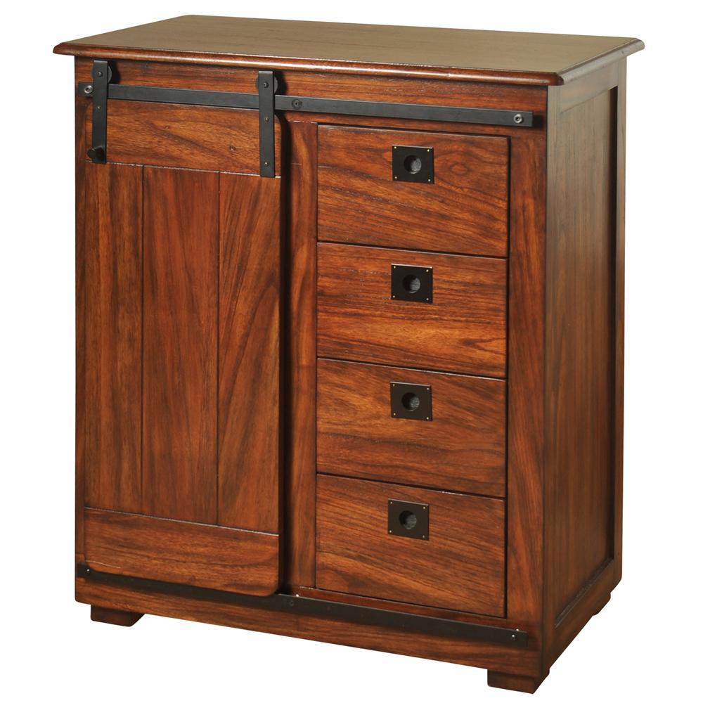 Rich Chestnut Brown Storage with Sliding Barn Door Cabinet