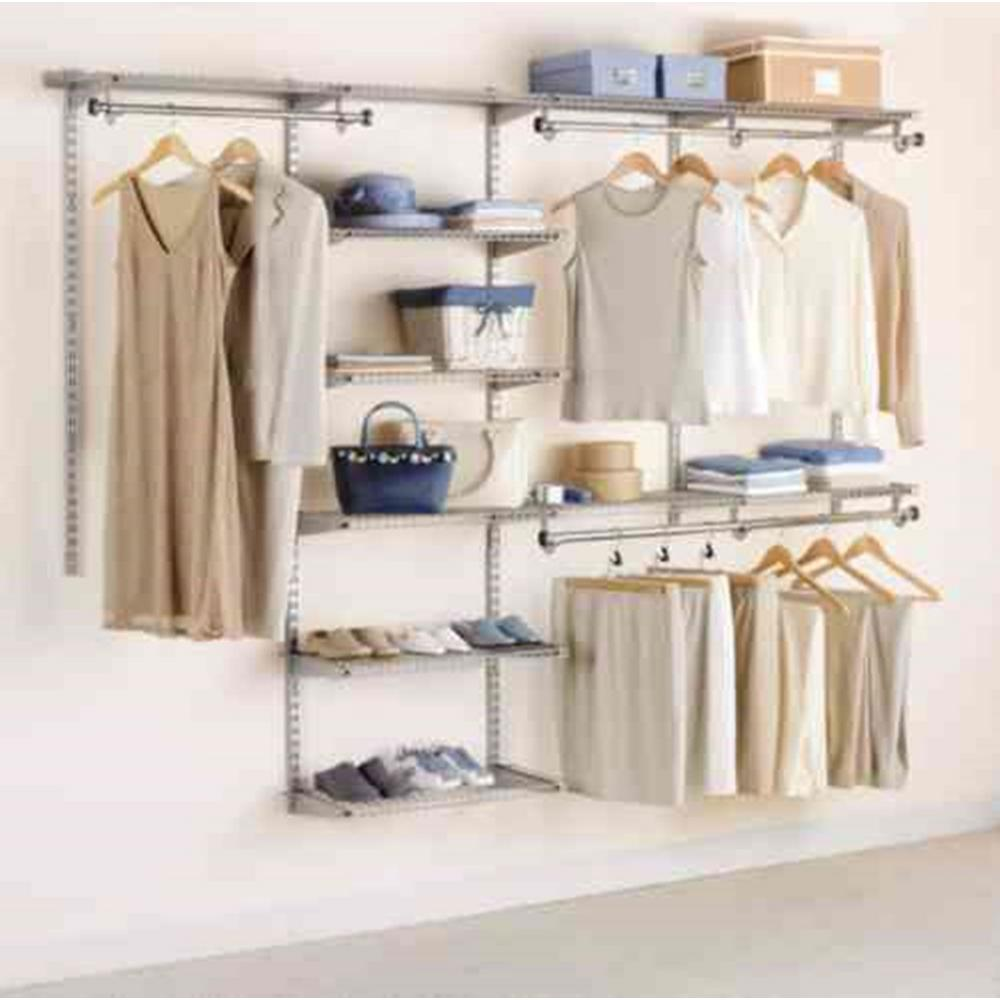 Rubbermaid 48 in. D x 96 in. W x 2 in. H Configurations Metal Closet System 4 - 8 ft. Titanium Deluxe Kit