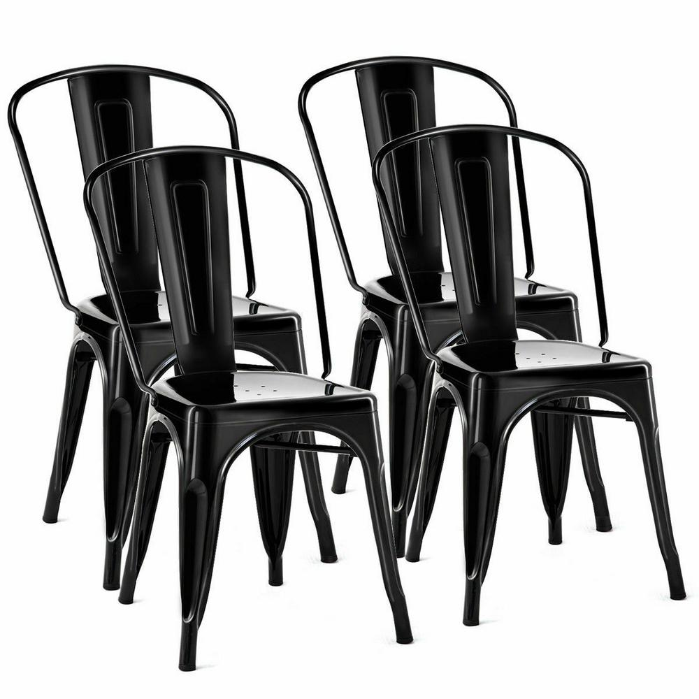 Costway Set Of 4 Black Distressed Style Dining Side Chair Stackable Bistro Cafe Metal Hw58726bk The Home Depot