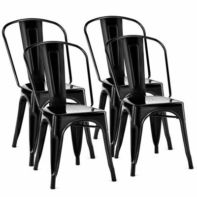 Set of 4-Black Distressed Style Dining Side Chair Stackable Bistro Cafe Metal