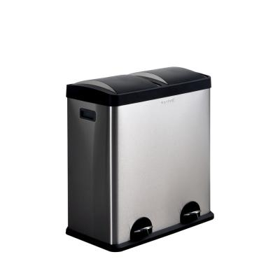 16-Gal. 2-Compartment Stainless Steel Trash Can and Recycling Bin