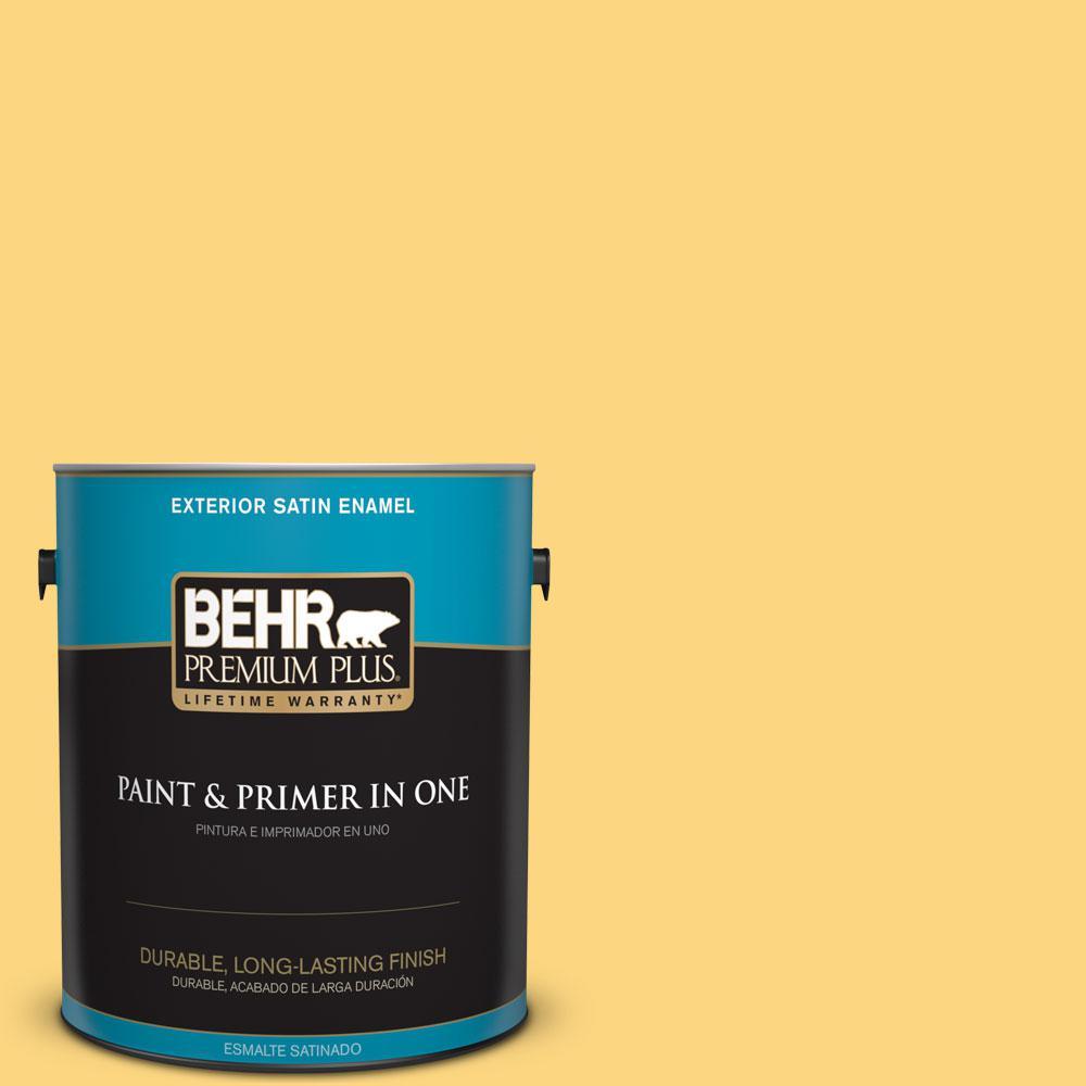 BEHR Premium Plus 1-gal. #350B-6 Wildflower Honey Satin Enamel Exterior Paint