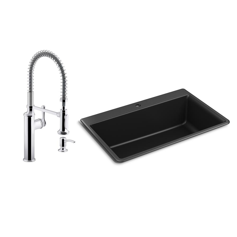 Kohler Kennon Drop In Undermount Granite Composite 33 In Single Bowl Kitchen Sink With Sous Kitchen Faucet In Matte Black K R8437 10651 Cp The Home Depot