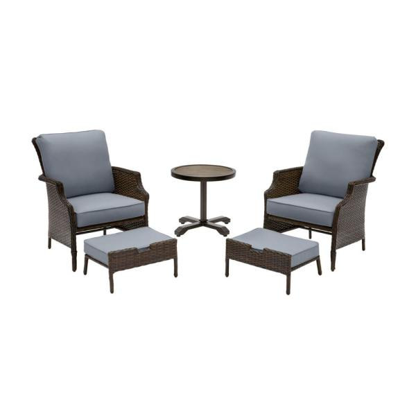Grayson Brown 5-Piece Wicker Outdoor Patio Small Space Seating Set with CushionGuard Steel Blue Cushions