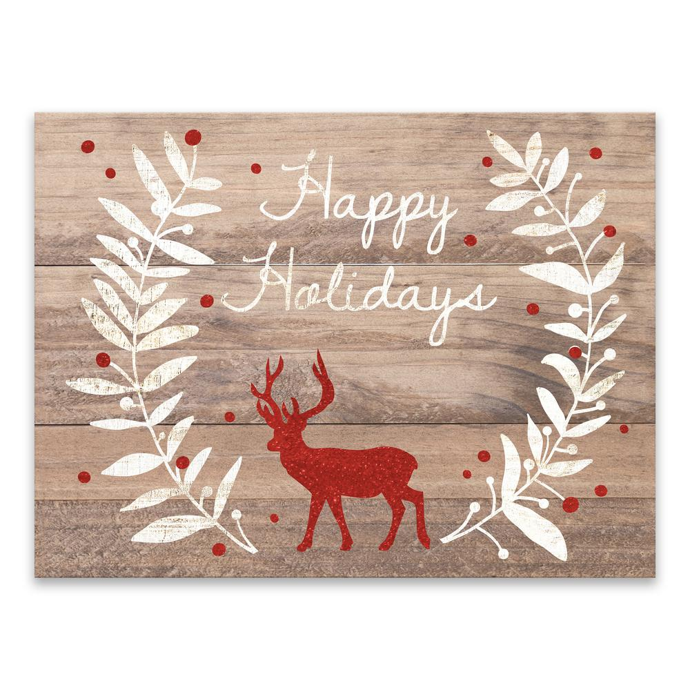 """Happy Holidays Glitter Reindeer"" by Lot26 Studio Printed Canvas Wall Art"