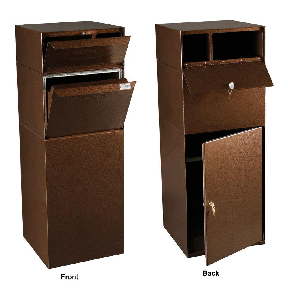 Locking Mailboxes Curbside Mail and Package Delivery Vault in Copper Vein