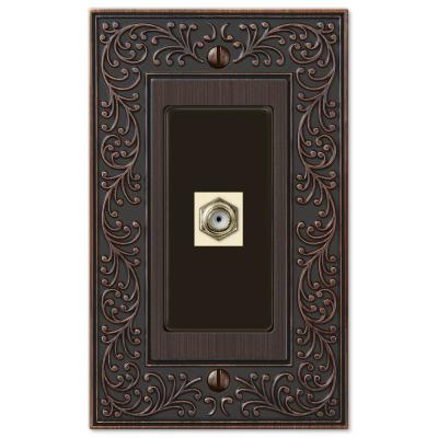 English Garden 1 Gang Coax Metal Wall Plate - Aged Bronze