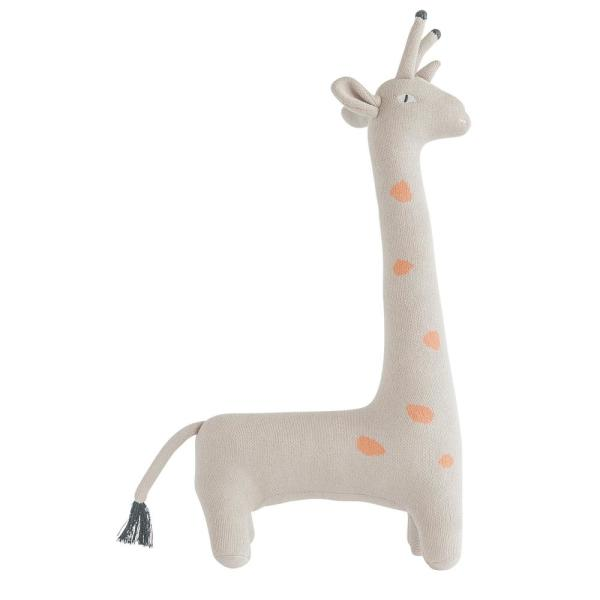 Grey and Orange Giraffe Shaped 13 in. x 22 in. Throw Pillow