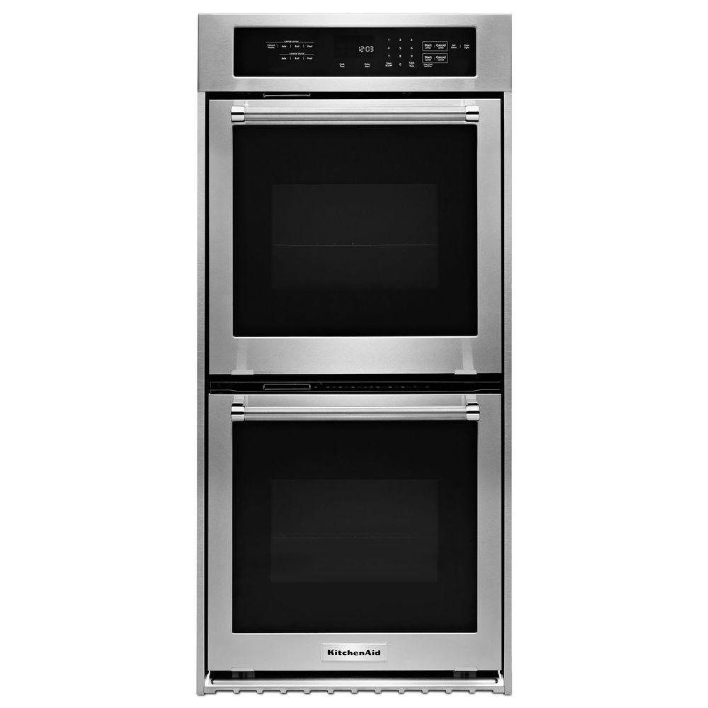 Kitchenaid 24 In Double Electric Wall Oven Self Cleaning With Convection Stainless Steel