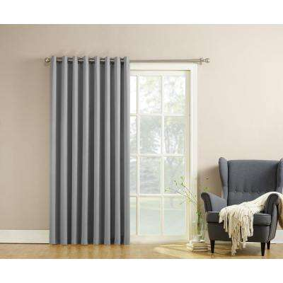 Semi-Opaque Gregory 100 in. by 84 in. Solid Window Patio Panel in Grey