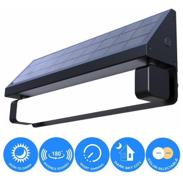 Solar 180° Black SMART Sensing Self-Contained Integrated Selectable LED Color Flood Pathway Wall Light