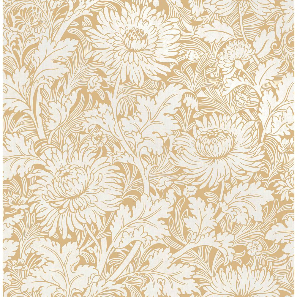 Fine Decor Zinnia Mustard Floral Wallpaper Sample 2900 42528sam