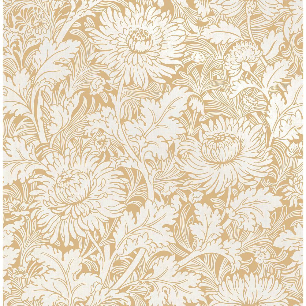 Zinnia Mustard Floral Wallpaper Sample