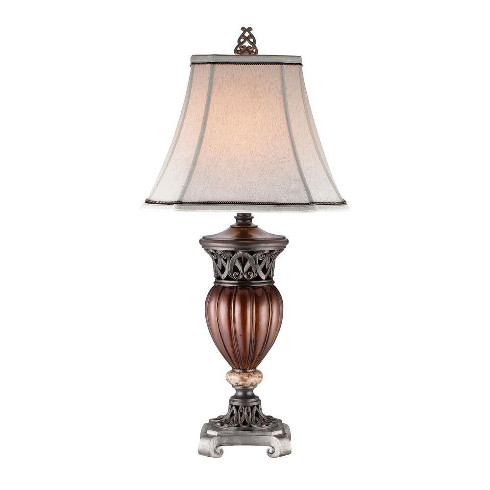 OK LIGHTING 32 in. Wooden Color Table Lamp-OK-4190T - The Home Depot