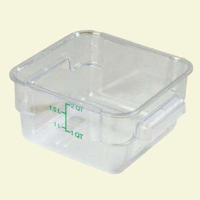 2 qt. Polycarbonate Square Food Storage Container in Clear, Lid not Included (Case of 6)