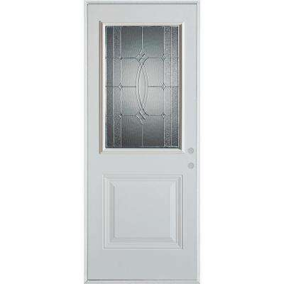 36 in. x 80 in. Diamanti Zinc 1/2 Lite 1-Panel Painted White Left-Hand Inswing Steel Prehung Front Door