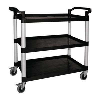 3-Shelf Plastic Utility Cart in Black