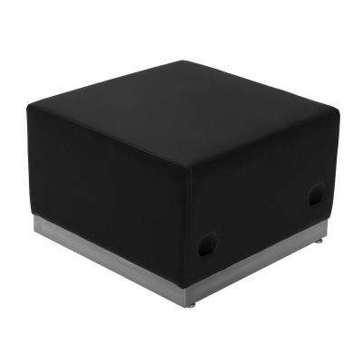 Black Leather Ottoman with Brushed Stainless-Steel Base
