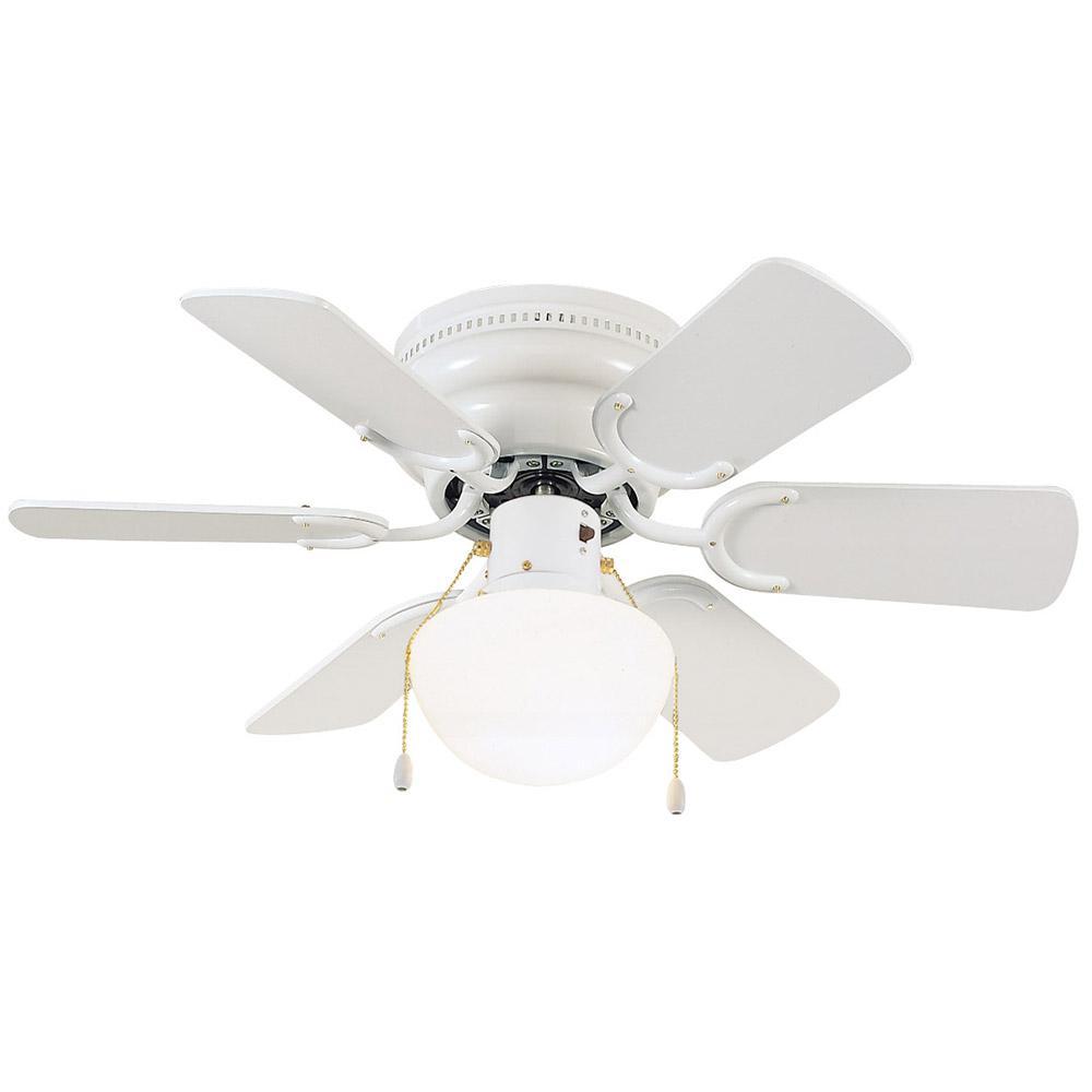 Indoor White Hugger Lighted Ceiling Fan