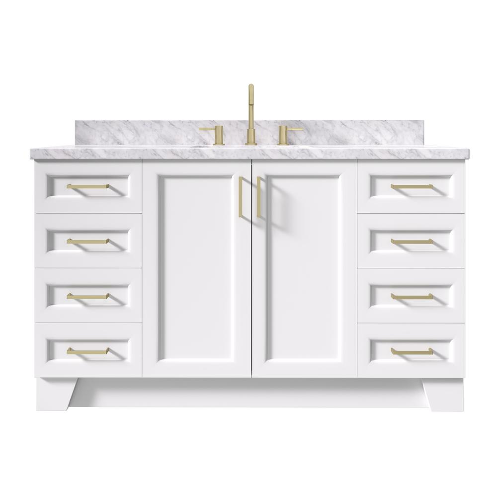 Ariel Taylor 61 In W X 22 In D Bath Vanity In White With Marble Vanity Top In Carrara White With White Basin Q061scwrvowht The Home Depot