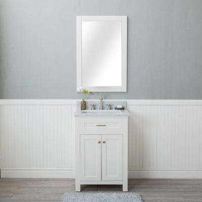 Norwalk 24 in. W x 22 in. D Vanity in Linen White with Marble Vanity Top in White with White Basin and Mirror