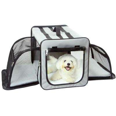 Large Grey Capacious Dual Expandable Wire Folding Lightweight Collapsible Travel Pet Dog Crate