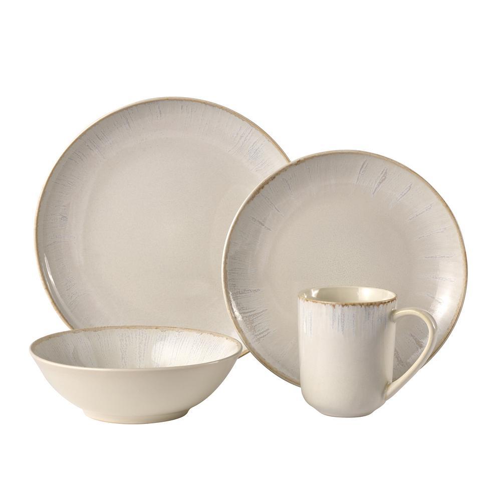 Glacier 16-Piece Casual Cream Stoneware Dinnerware Set (Service for 4)