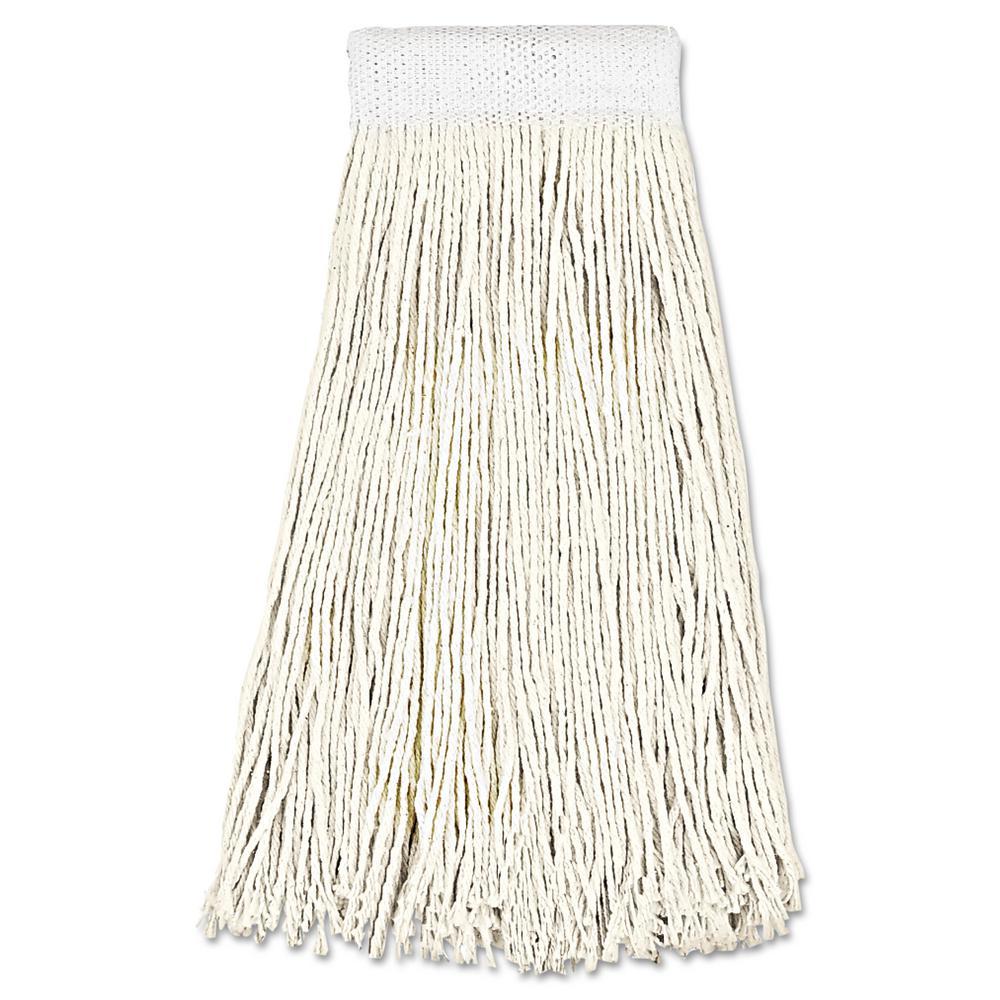 24 oz. Cotton Fiber Premium Saddleback Head Mop Head in White (12-Carton)