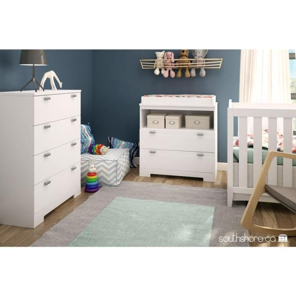 South S Reevo 2 Drawer Pure White Changing Table