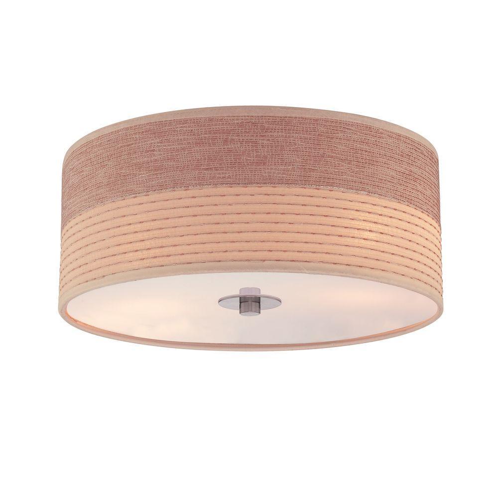 Illumine Designer 2-Light Ceiling White Incandescent Flush Mount with Two Tone Shade