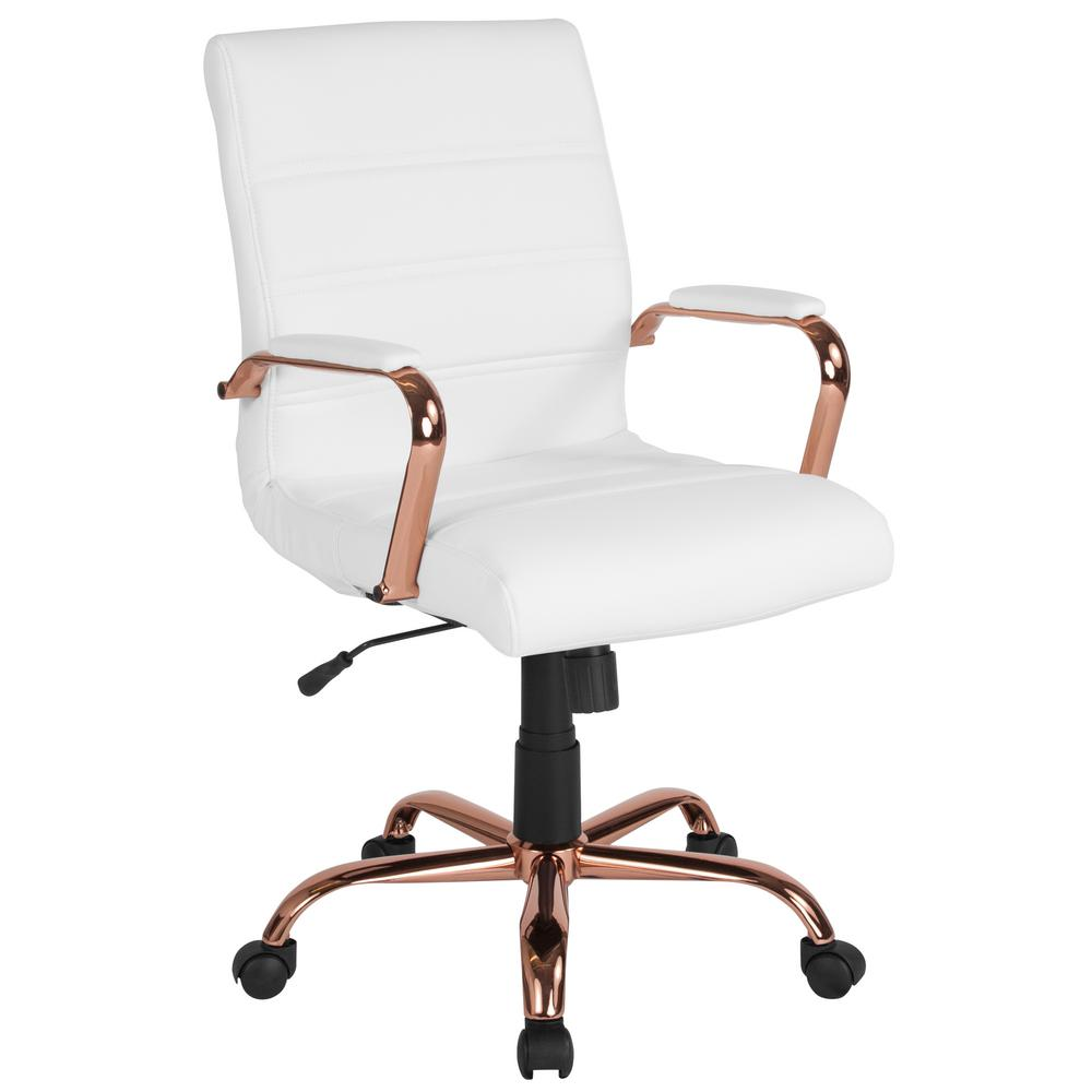 White Leather Rose Gold Frame Office Desk Chair