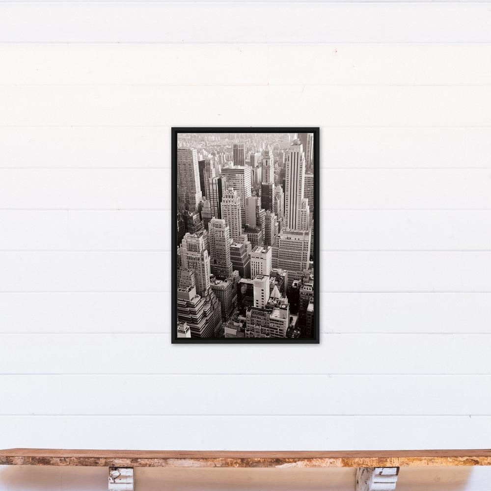 20 in. x 30 in. ''Black & White NYC Rooftops Photograph''