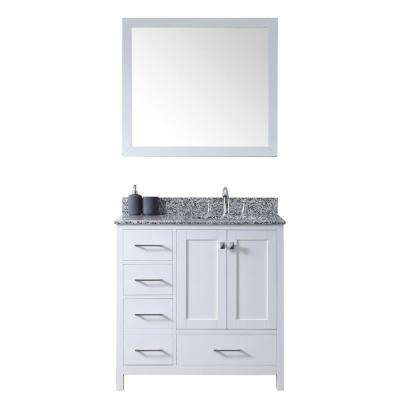 Caroline Madison 36 in. W Bath Vanity in White with Granite Vanity Top in Arctic White with Round Basin and Mirror