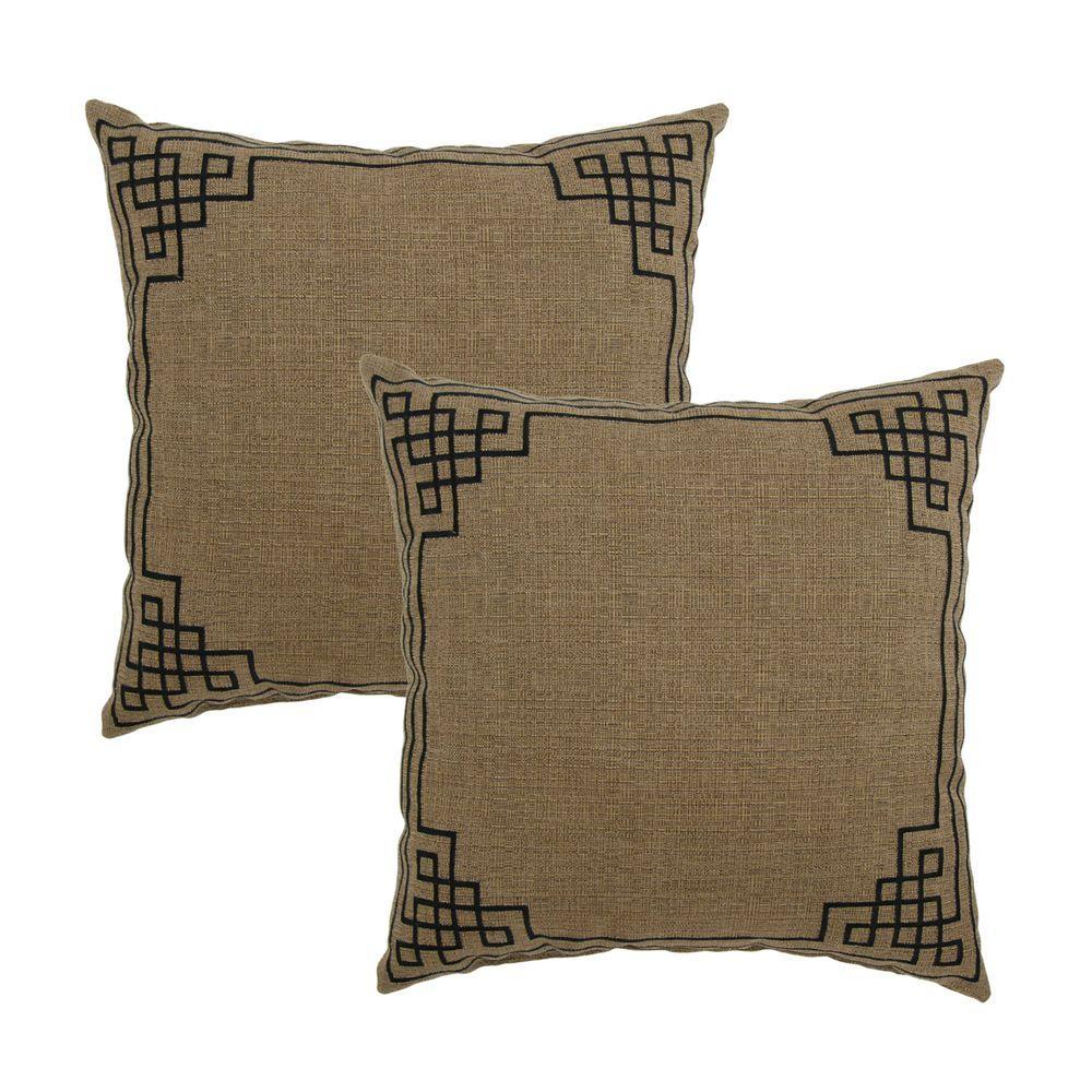 Hampton Bay Bark Embroidery Outdoor Throw Pillow (2-Pack)