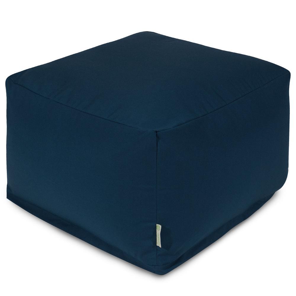 Navy Blue Solid Indoor/Outdoor Ottoman Cushion