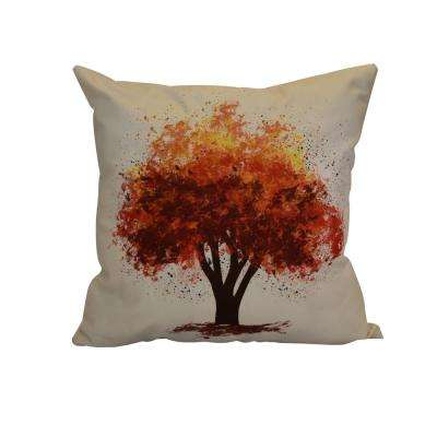 16 in. x 16 in. Fall Bounty, Floral Print Pillow, Brown