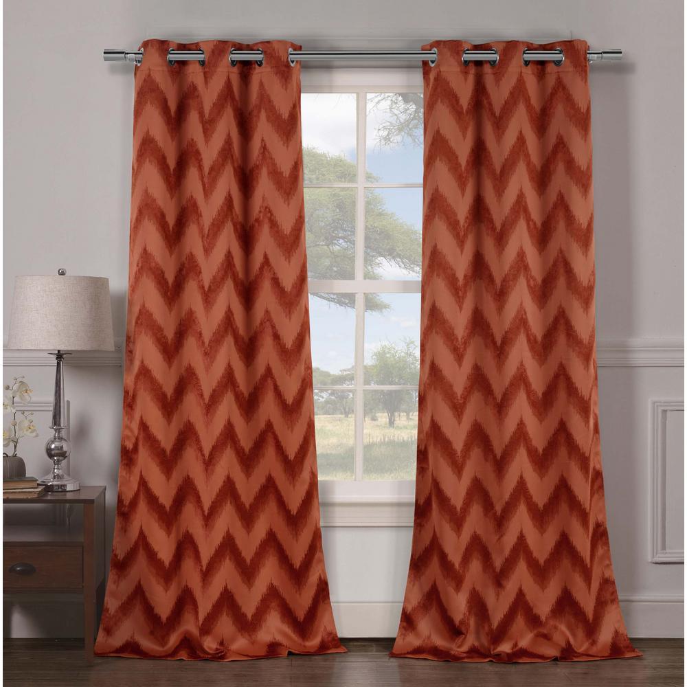 Stripe Rust Polyester Blackout Grommet Window Curtain 38 in. W x 84 in. L (2-Pack)