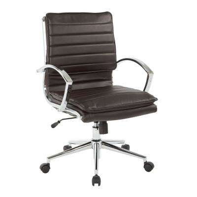 Mid Back Manager's Espresso Faux Leather Office Chair