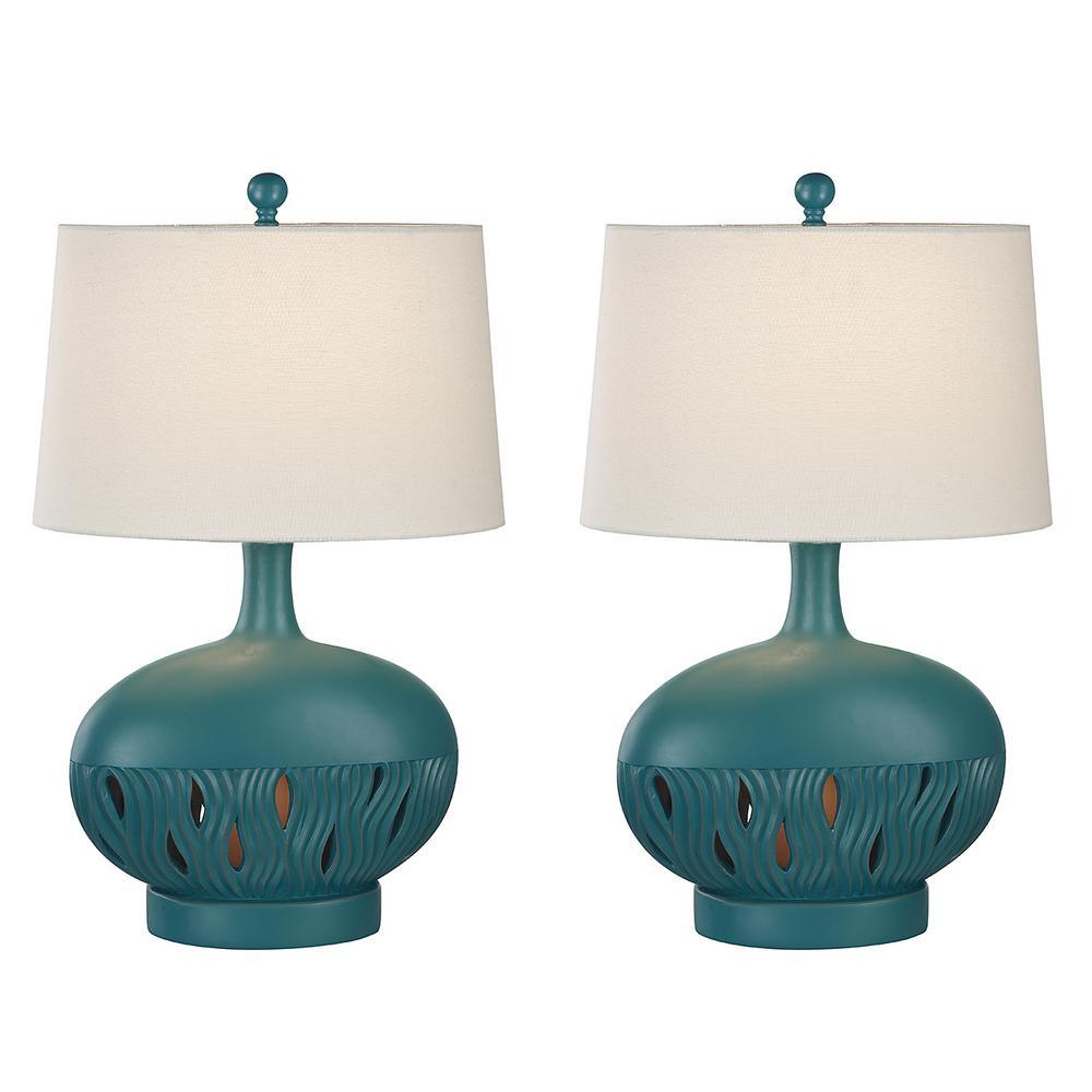 26 in. Largo Blue Indoor Table Lamp Set