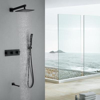 3-Handle 2-Spray Patterns Shower System 10 in. Wall Mount Dual Shower Heads with Handheld and Tub Spout in Matte Black