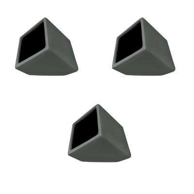 Cube 3-1/2 in. x 4 in. Dark Gray Ceramic Wall Planter (3-Piece)