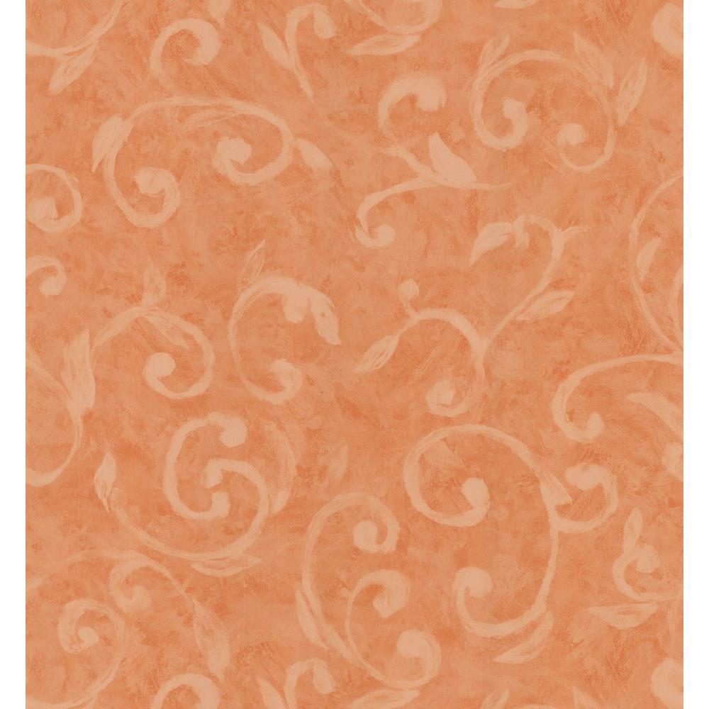 Brewster Simple Space Dark Orange Scroll Wallpaper Sample 141-62108SAM