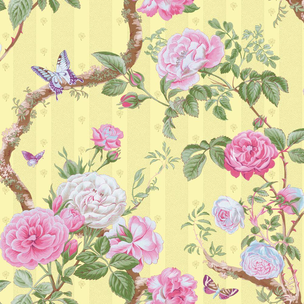 The Wallpaper Company 56 sq. ft. Lime Large Rose and Vine Wallpaper