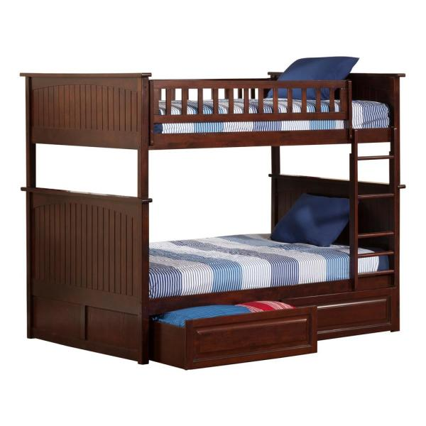 Atlantic Furniture Nantucket Walnut Full Over Full Bunk Bed with 2-Raised