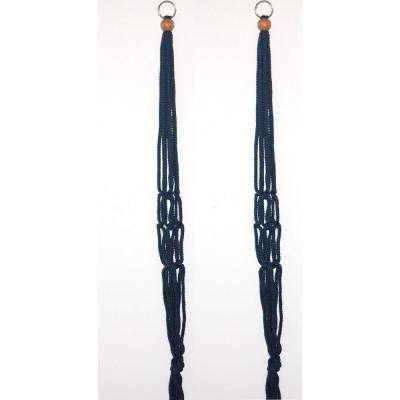 30 in. Navy Blue Polypropylene Macrame Plant Hangers (2-Pack)