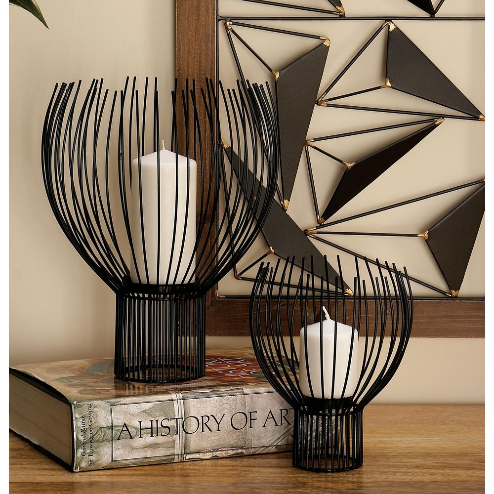Litton Lane Black Iron Wire Globe Pillar Candle Holders Set Of 3