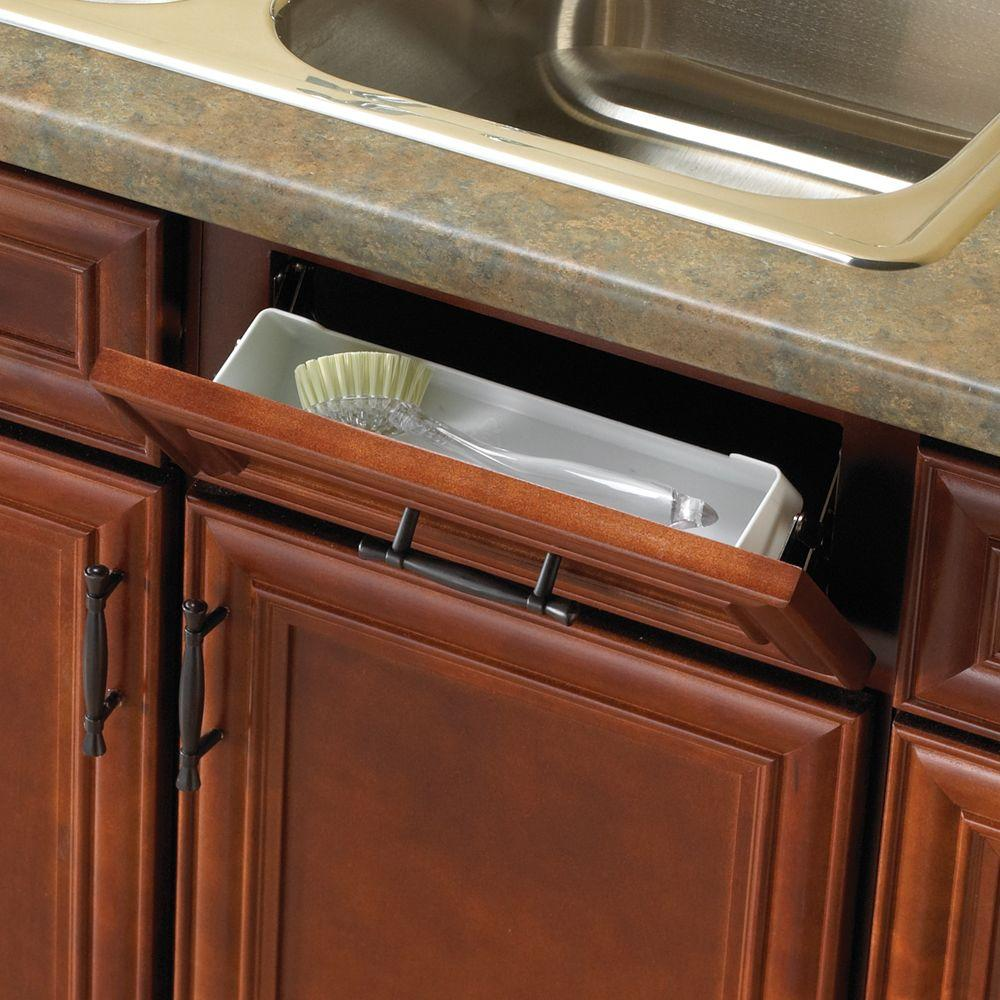 Real Solutions for Real Life 11 in. White Sink Front Tray with Scissor Hinges Cabinet Organizer
